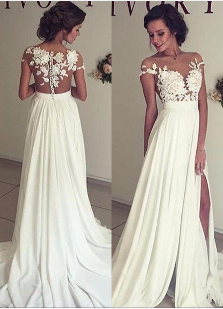 White Mother of the Bride Elegant Beach Wedding Dresses
