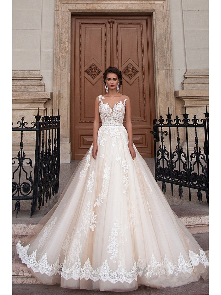a line wedding dresses with lace photo - 1