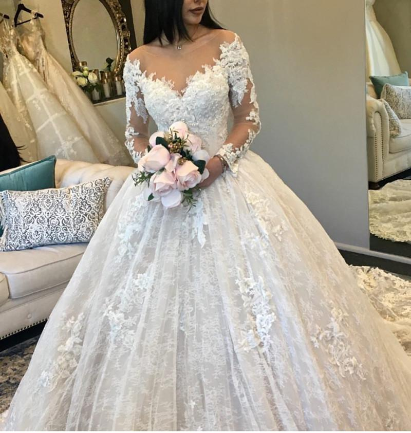 a line wedding dresses with sleeves photo - 1