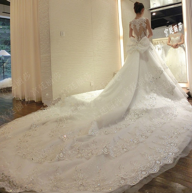 ball gown wedding dresses with long trains photo - 1