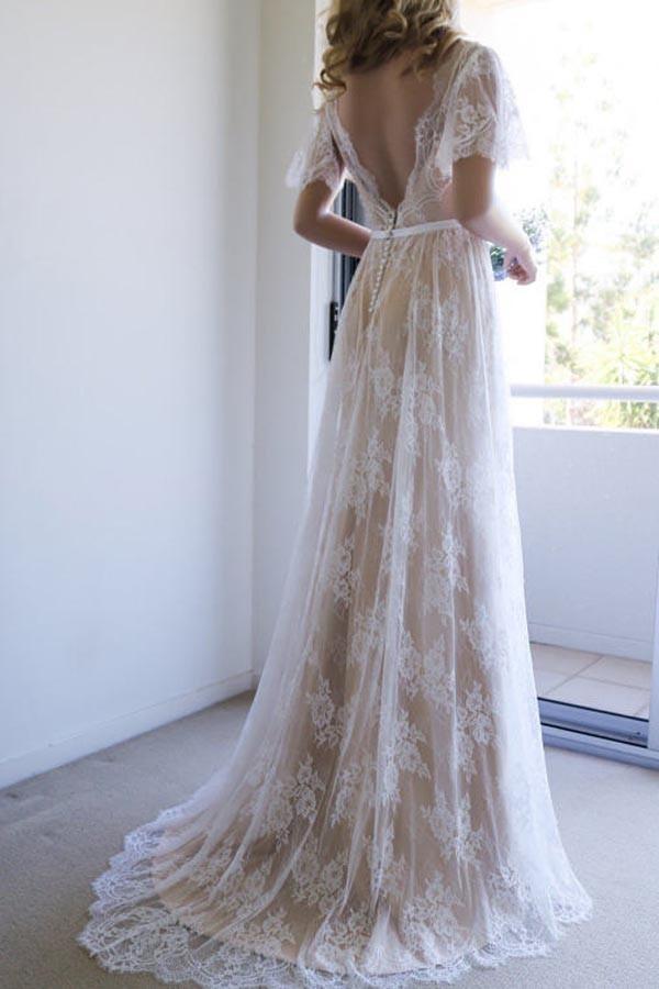 beach wedding dresses open back photo - 1
