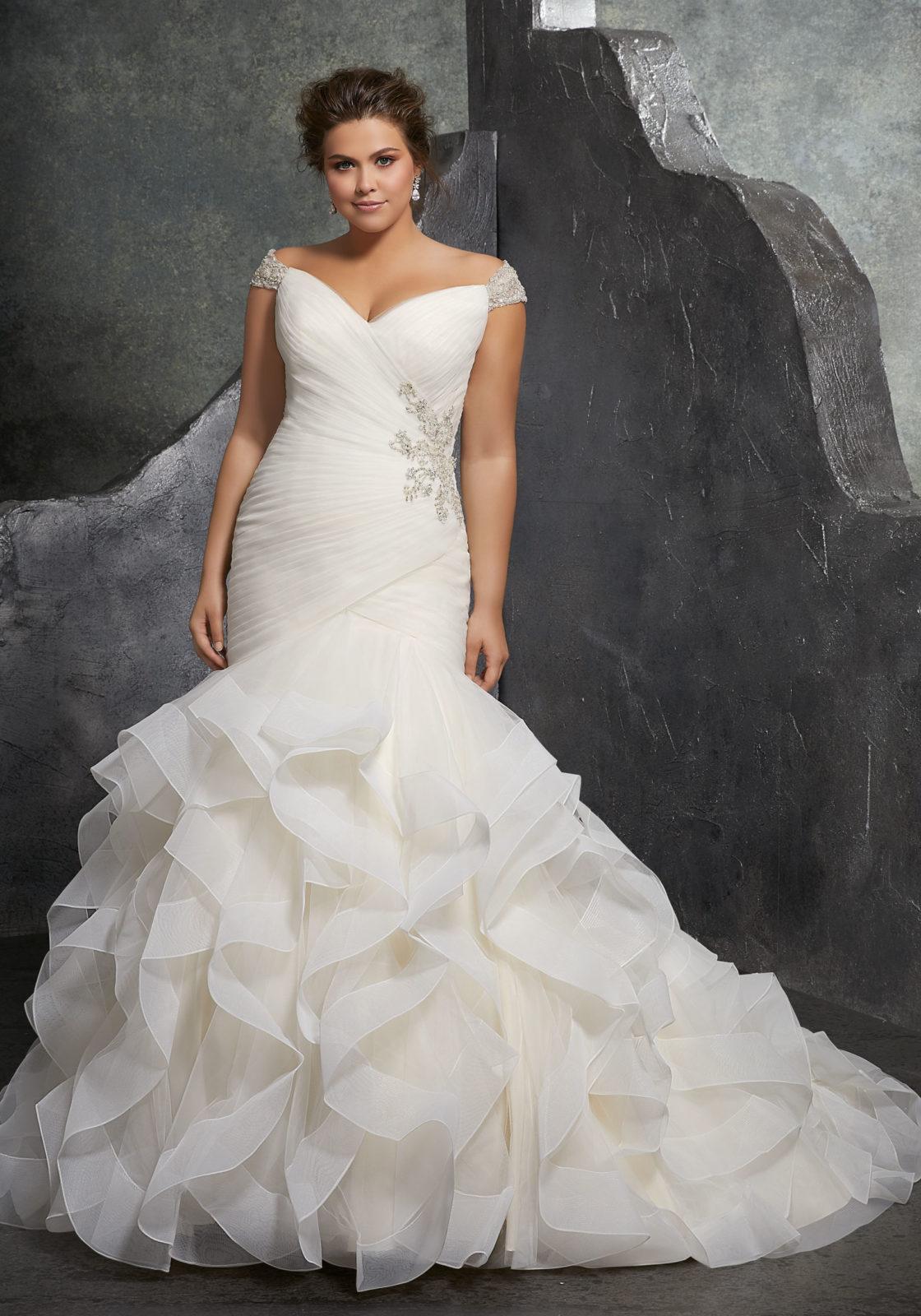 beige wedding dresses plus size photo - 1