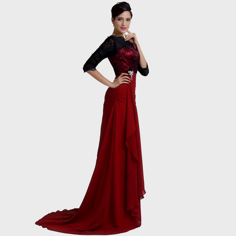 black and red evening dresses photo - 1