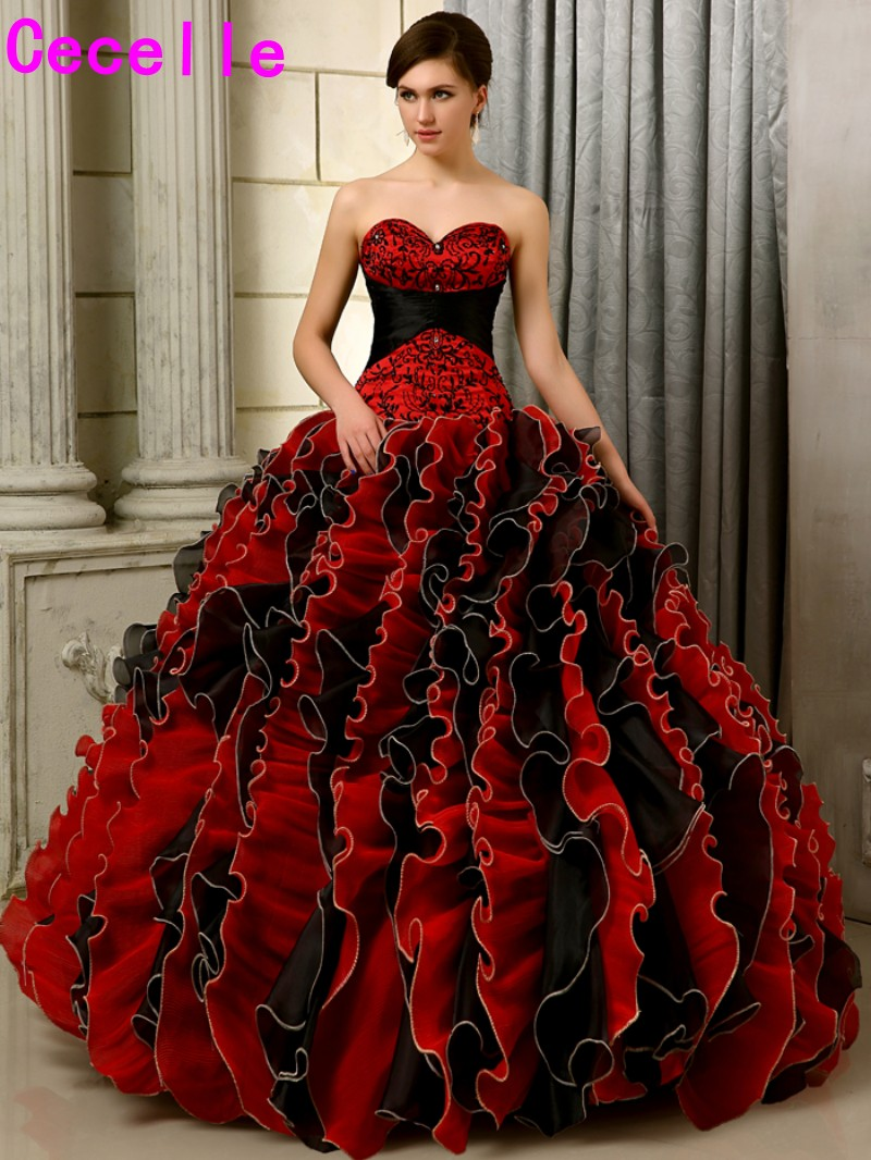 black and red gothic wedding dresses photo - 1