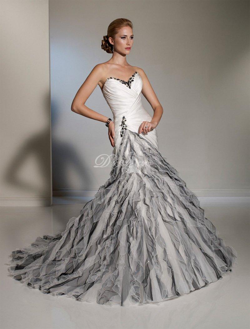 black and white mermaid wedding dresses photo - 1