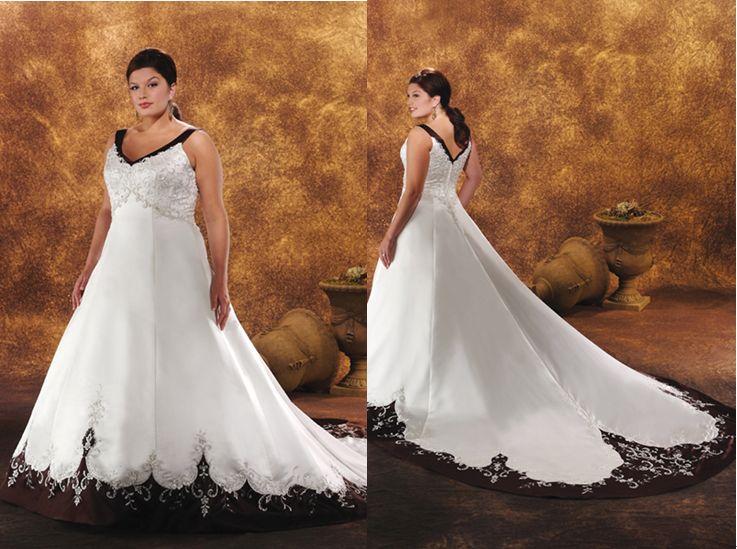 black and white wedding dresses plus size photo - 1