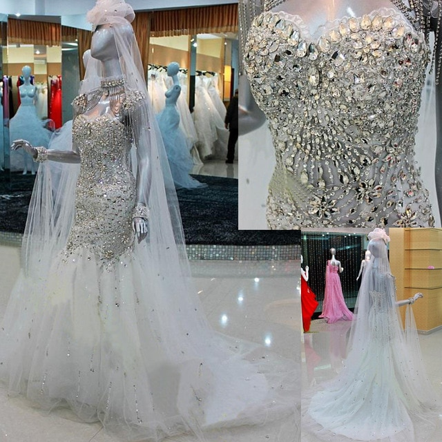 blinged out mermaid wedding dresses photo - 1