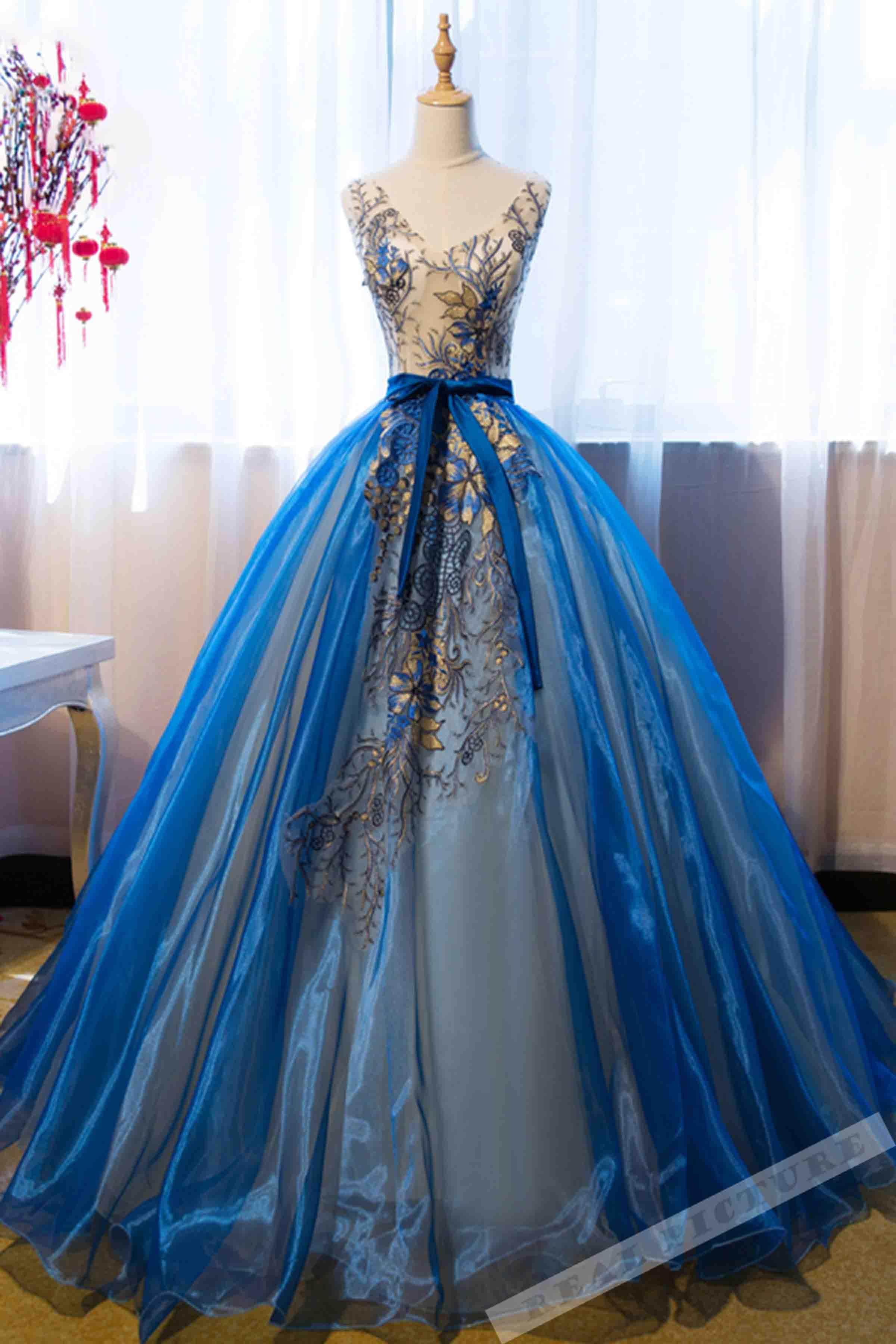 blue dresses wedding photo - 1