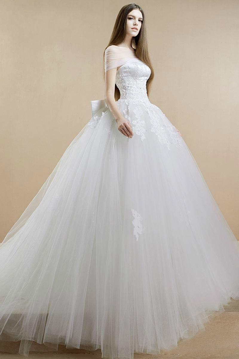 blush ball gown wedding dresses photo - 1