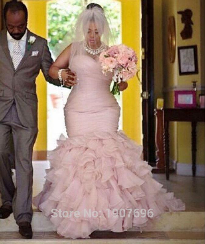 blush colored plus size wedding dresses photo - 1