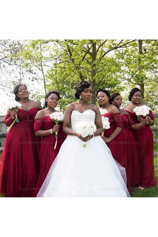 burgundy wedding dresses plus size photo - 1