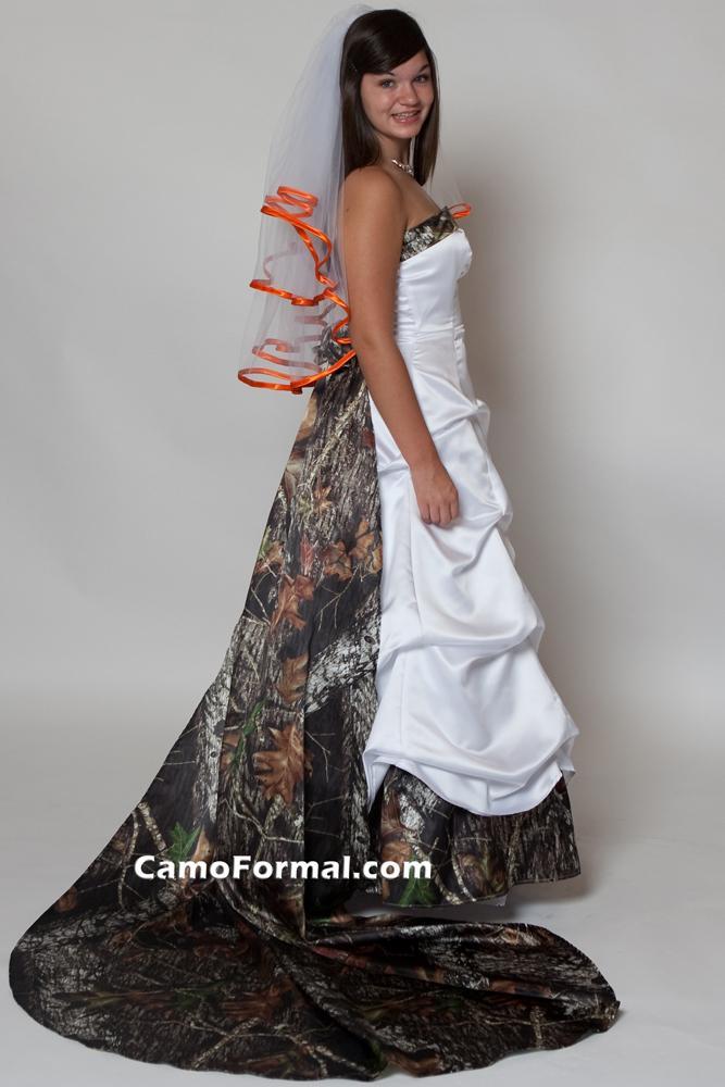camo and orange wedding dresses photo - 1