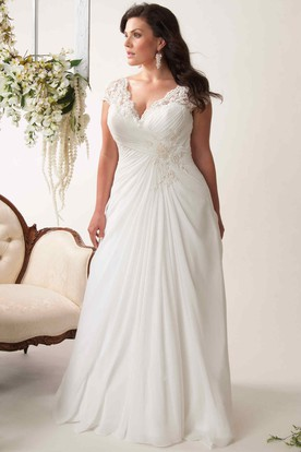 cap sleeve plus size wedding dresses photo - 1