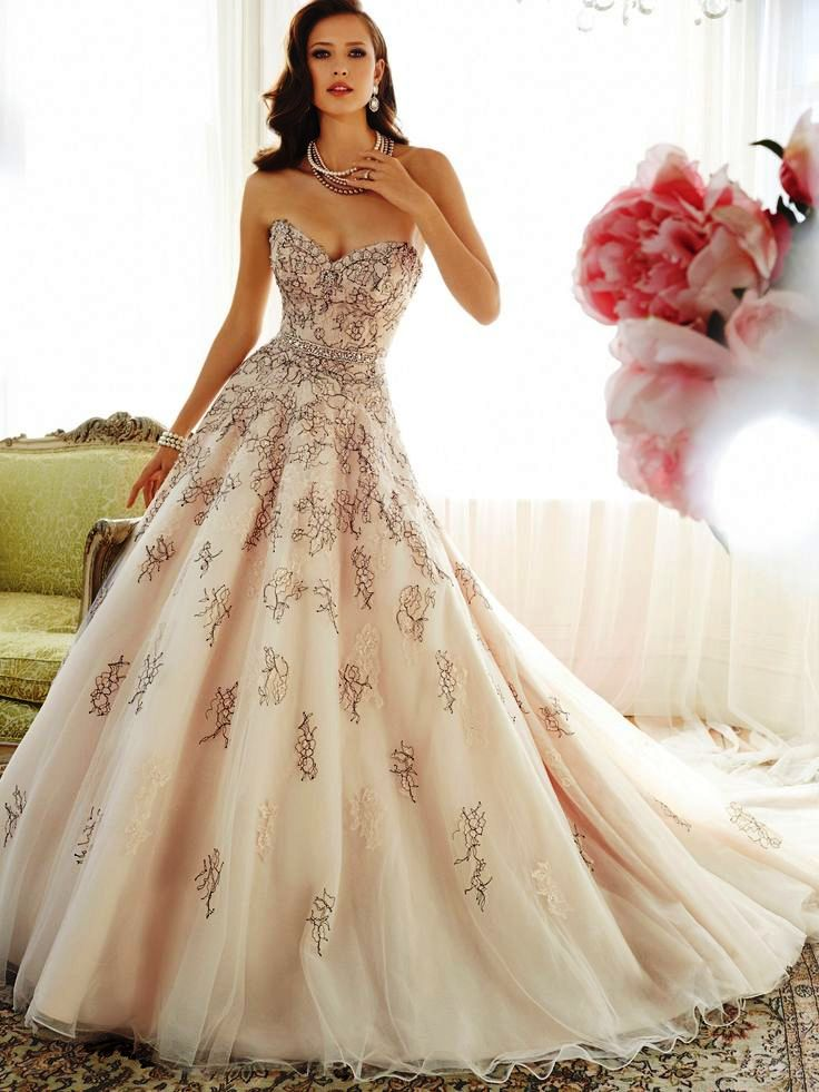champagne color wedding dresses photo - 1