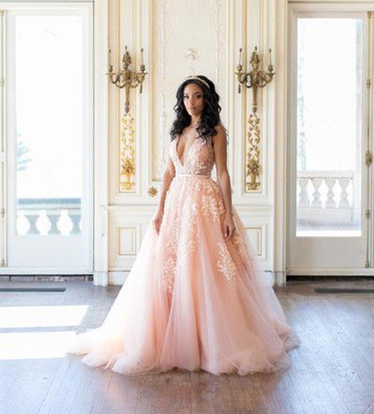 champagne gold wedding dresses photo - 1