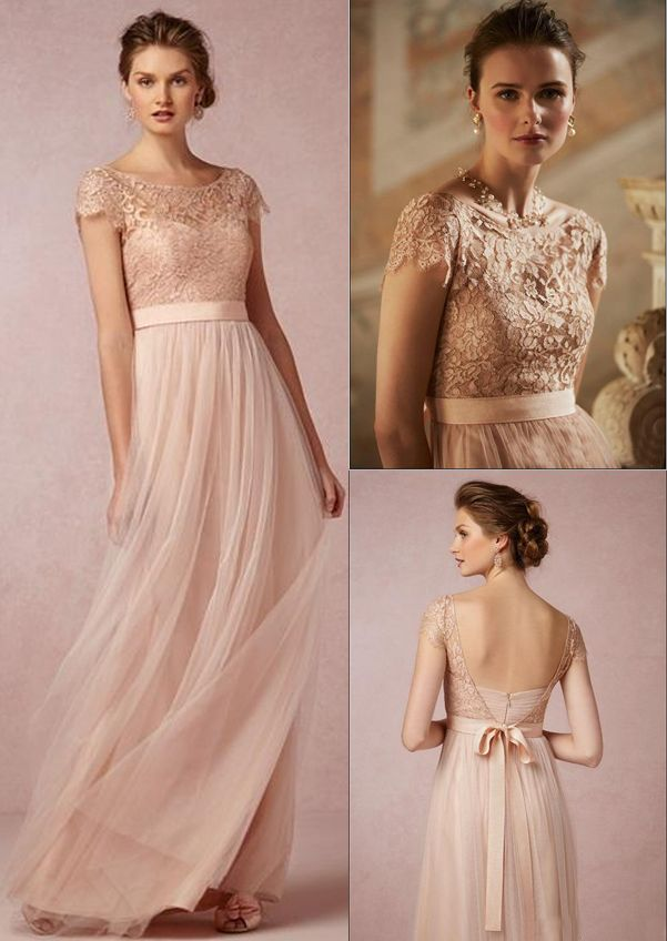 champagne pink wedding dresses photo - 1