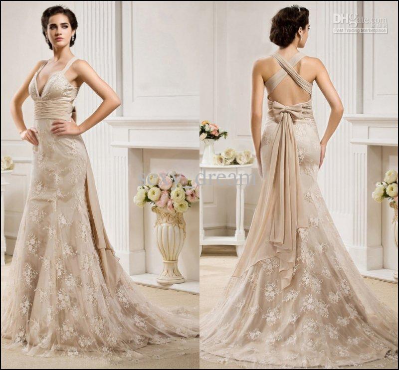 champagne tea length wedding dresses photo - 1
