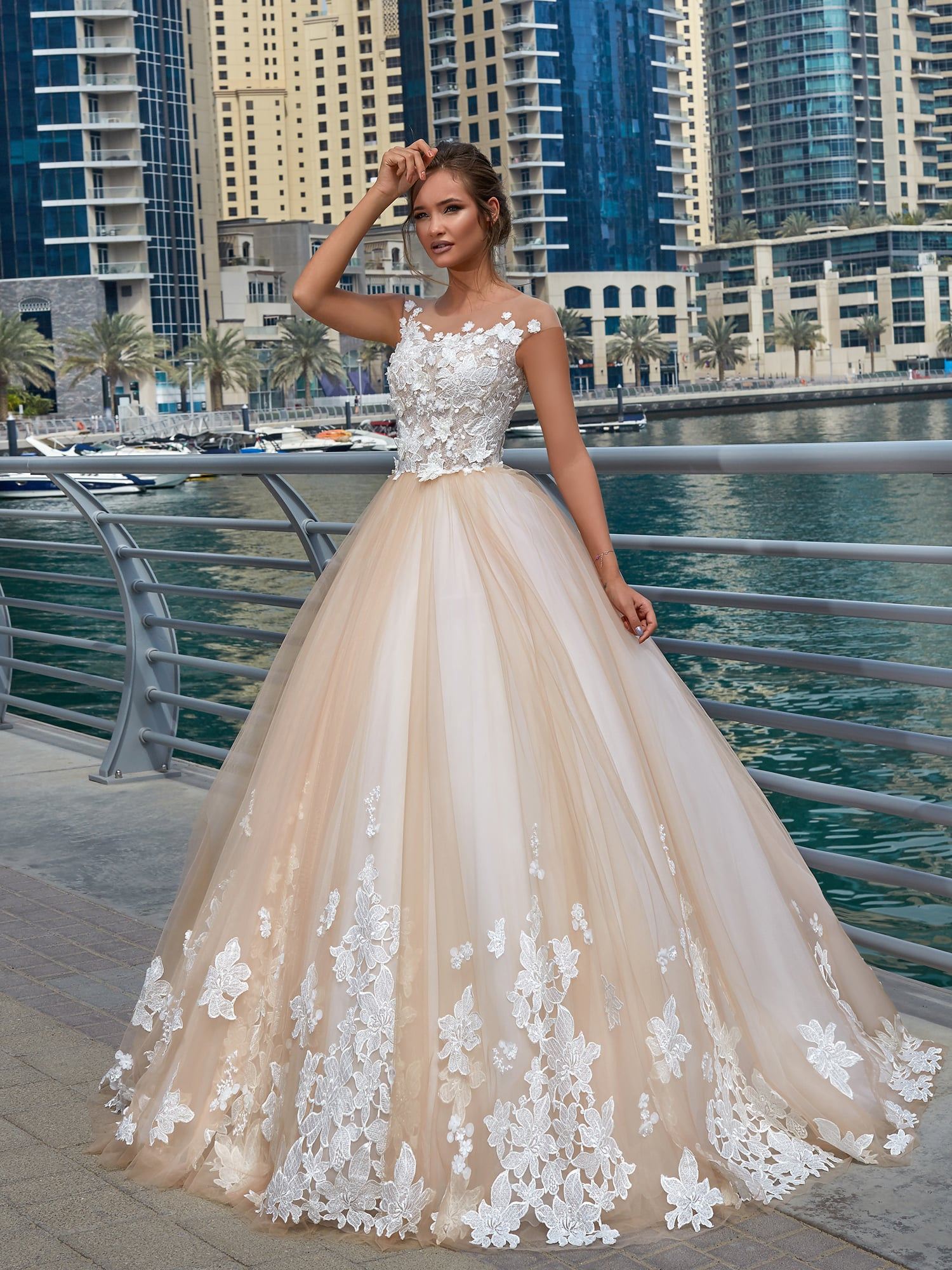 champagne wedding dresses lace photo - 1