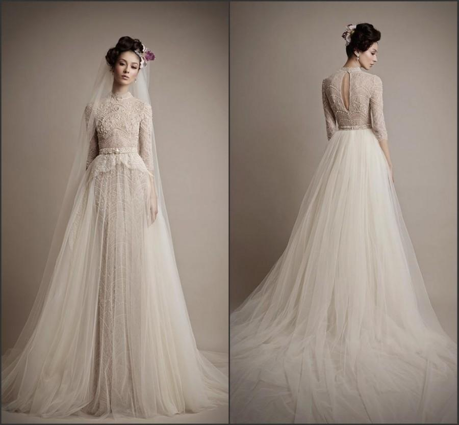 champagne wedding dresses with sleeves photo - 1