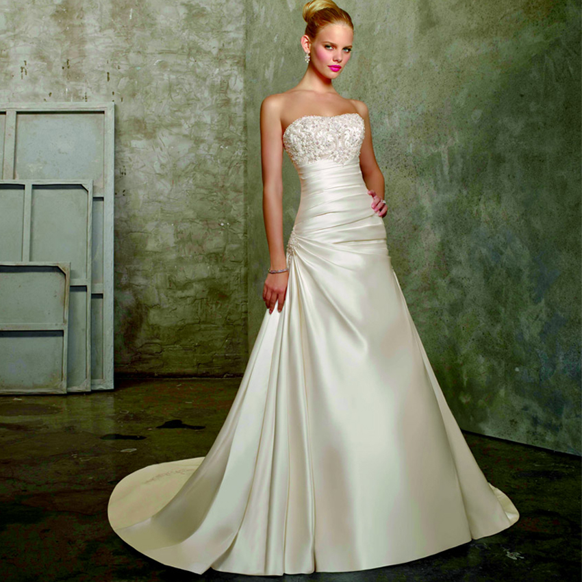 cheap a line wedding dresses photo - 1