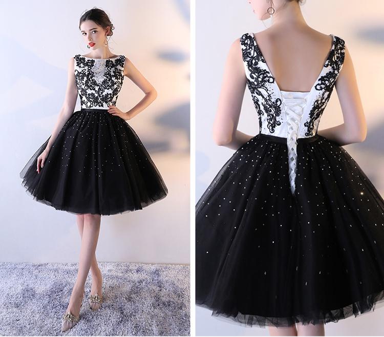 cheap black and white wedding dresses photo - 1