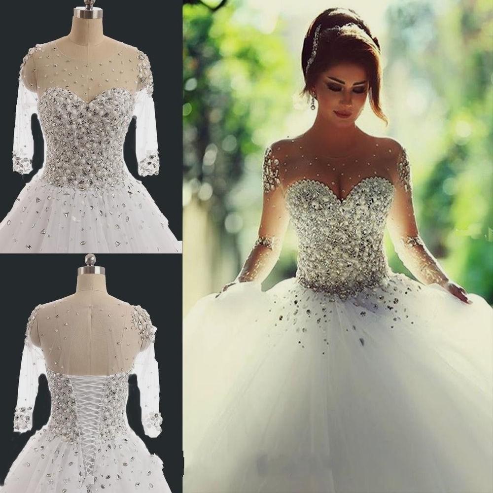 cheap bling wedding dresses photo - 1