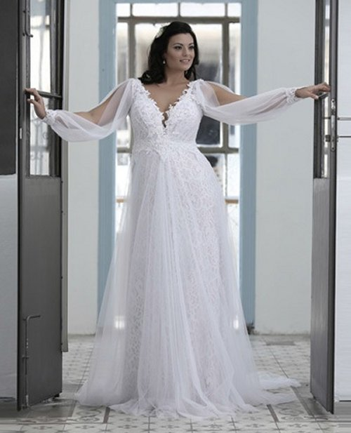 cheap flowy wedding dresses photo - 1