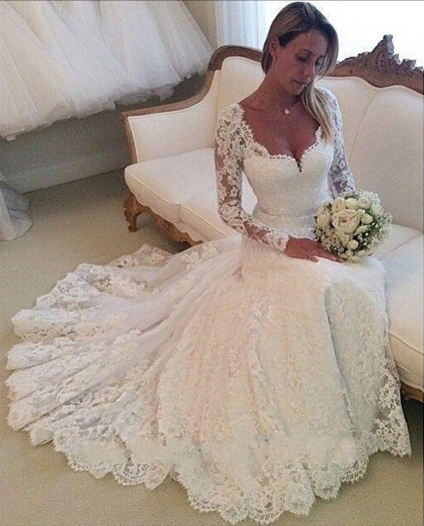 cheap lace wedding dresses with sleeves photo - 1