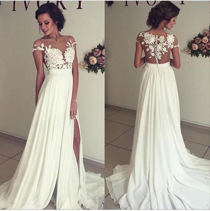cheap long wedding dresses photo - 1