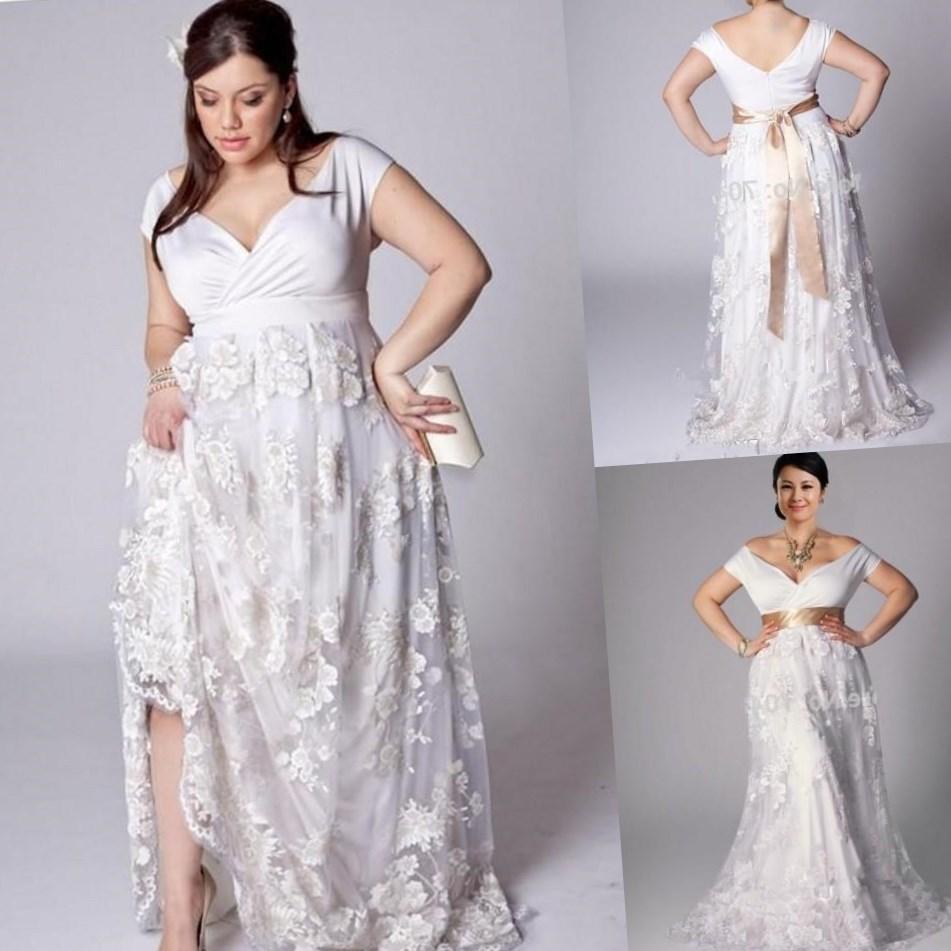 cheap plus size beach wedding dresses photo - 1