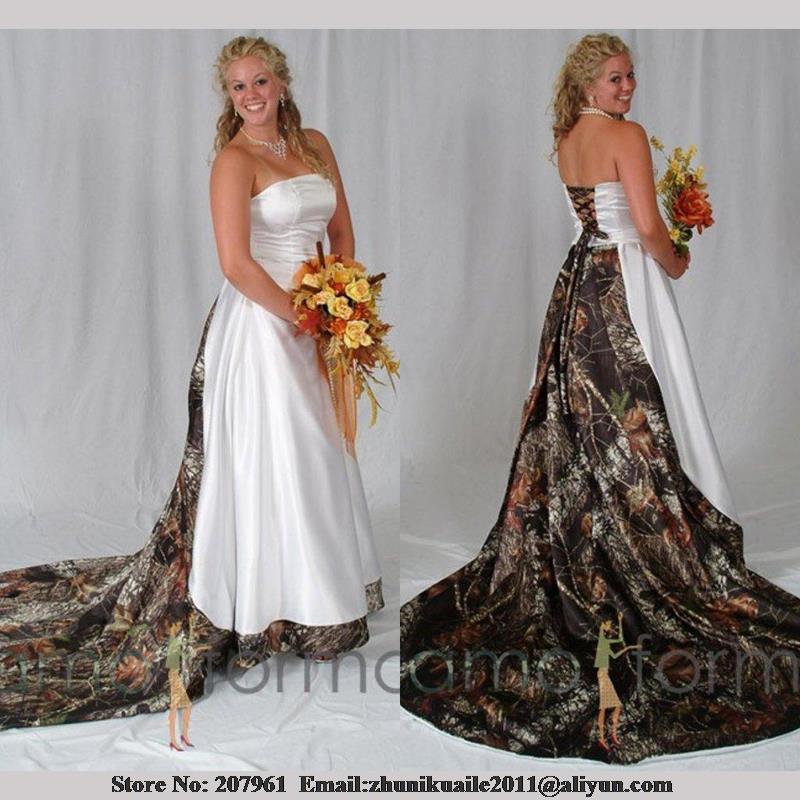 cheap plus size camo wedding dresses photo - 1