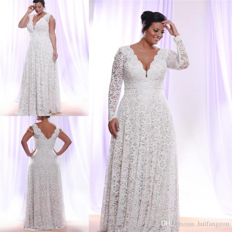 cheap plus size lace wedding dresses photo - 1