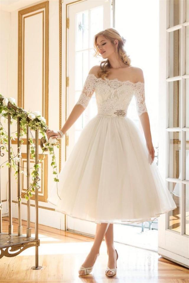cheap short lace wedding dresses photo - 1