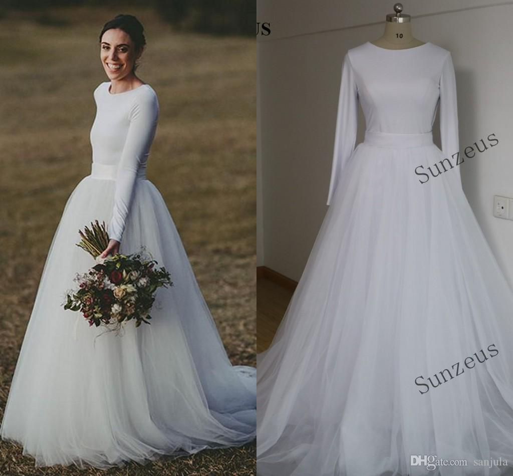 cheap wedding dresses long sleeve photo - 1