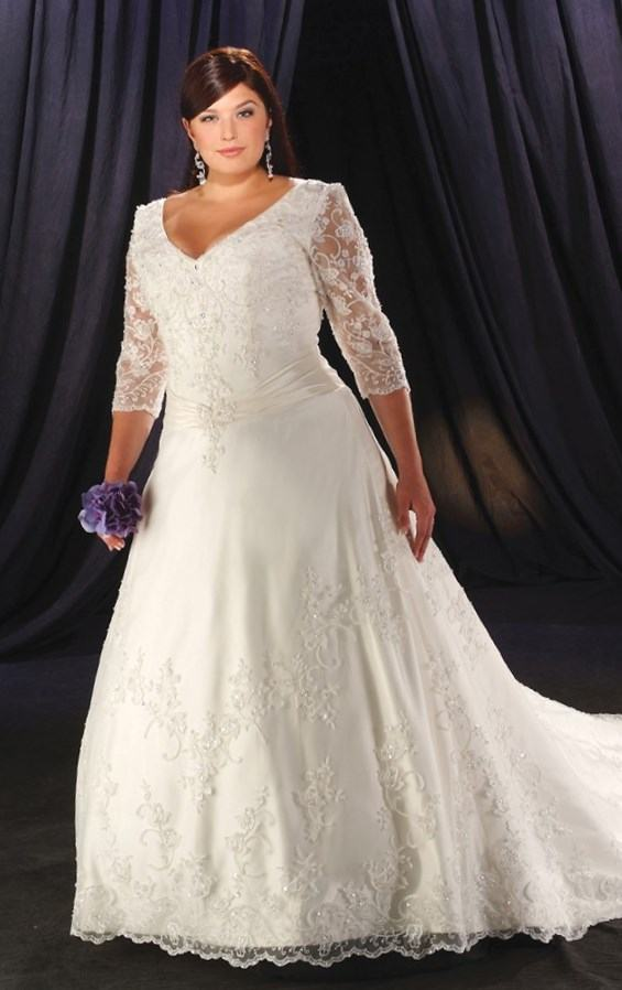 cheap wedding dresses under 100 for plus size photo - 1