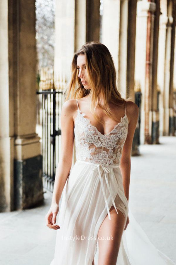chiffon wedding dresses with straps photo - 1