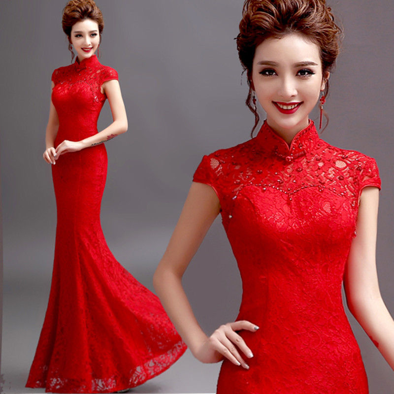 chinese red wedding dresses photo - 1