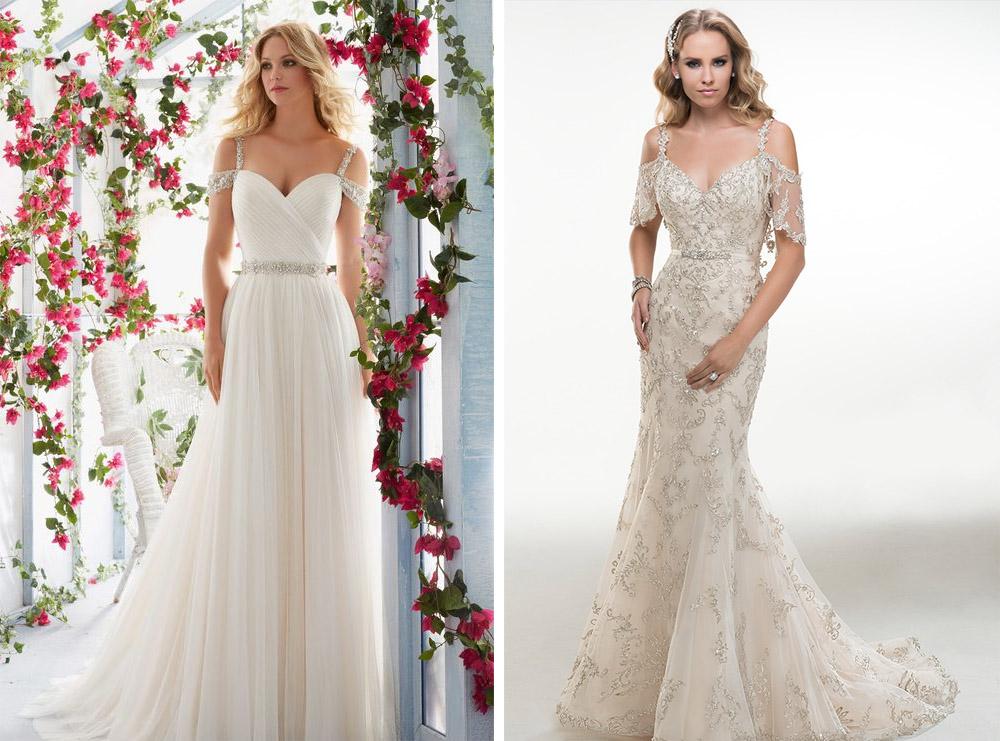 cold shoulder dresses for wedding photo - 1