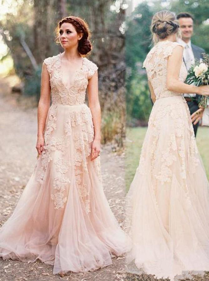 colored wedding dresses with sleeves photo - 1