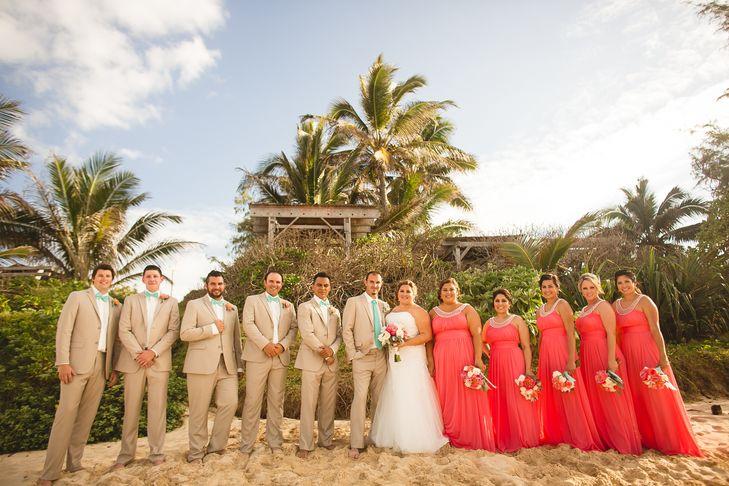 coral bridesmaid dresses for beach wedding photo - 1