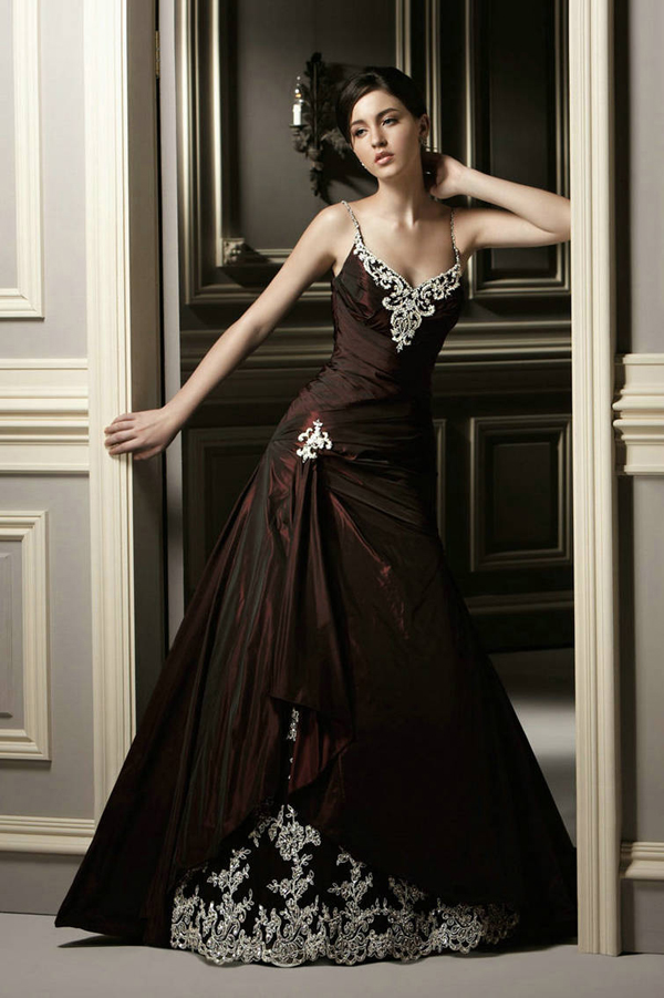 dark colored wedding dresses photo - 1