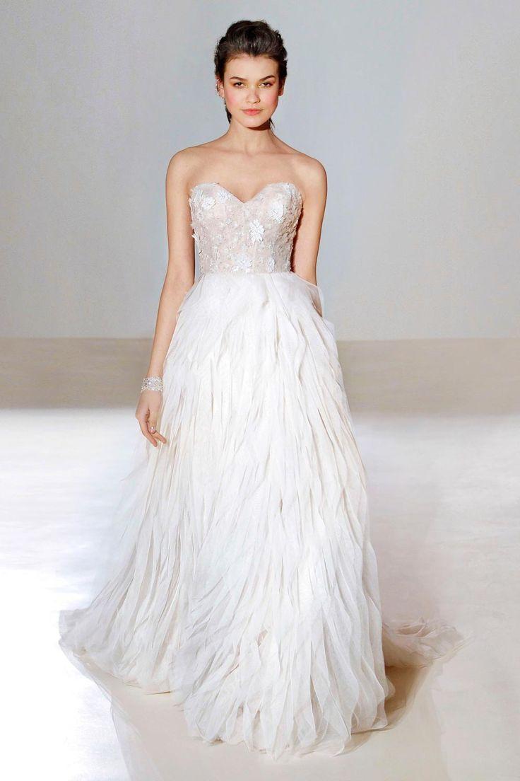 feathered bottom wedding dresses photo - 1