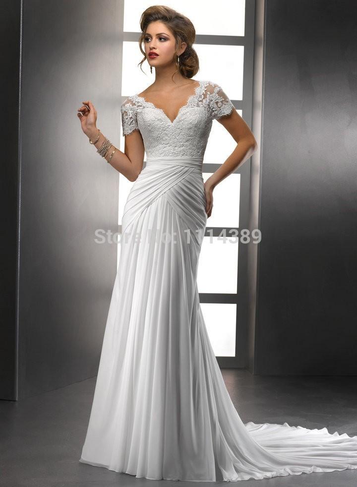 flutter sleeve wedding dresses photo - 1