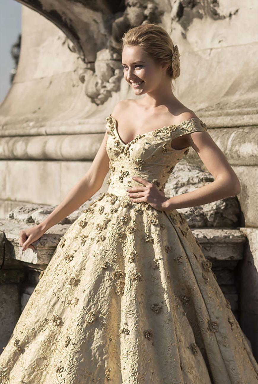 gold wedding dresses photo - 1