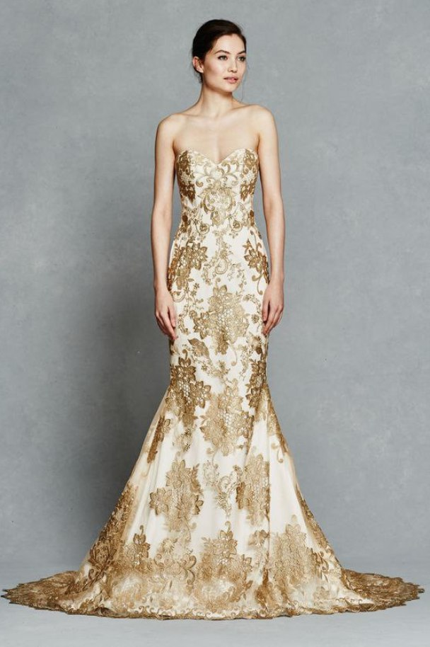 gold white wedding dresses photo - 1