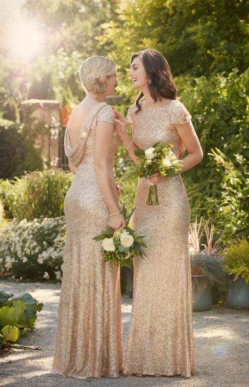 golden wedding bridesmaid dresses photo - 1