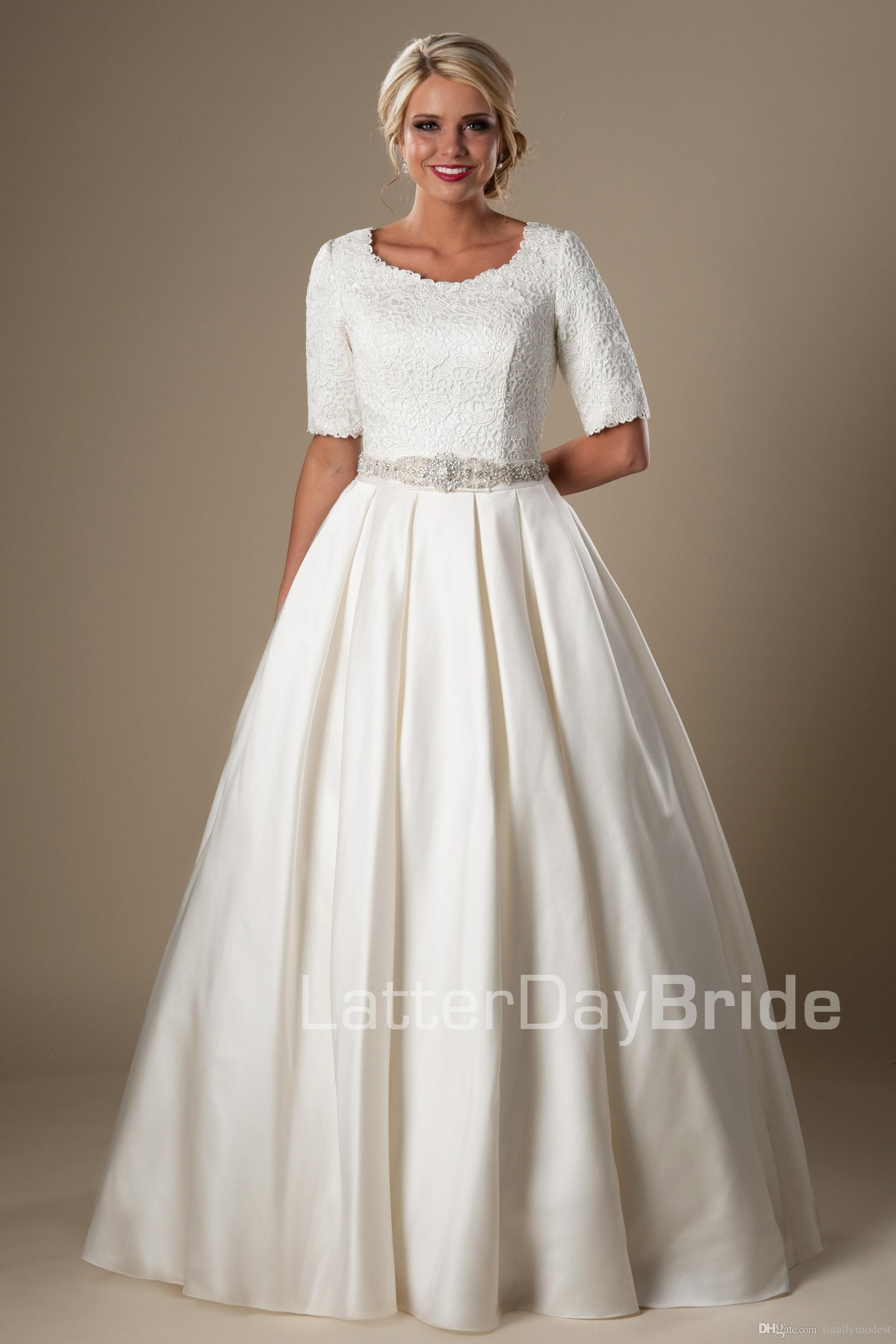 ivory lace wedding dresses with sleeves photo - 1