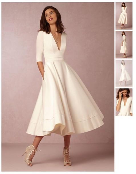 ivory tea length wedding dresses photo - 1