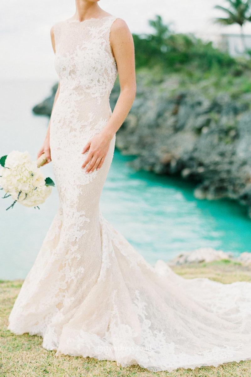 lace boat neck wedding dresses photo - 1