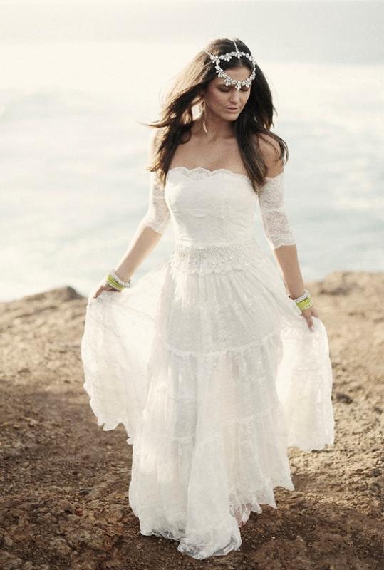 lace bohemian wedding dresses photo - 1